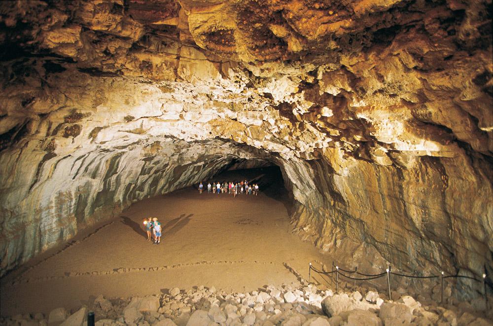 Touring through caves at Undara Lava Tubes, Queensland, Australia