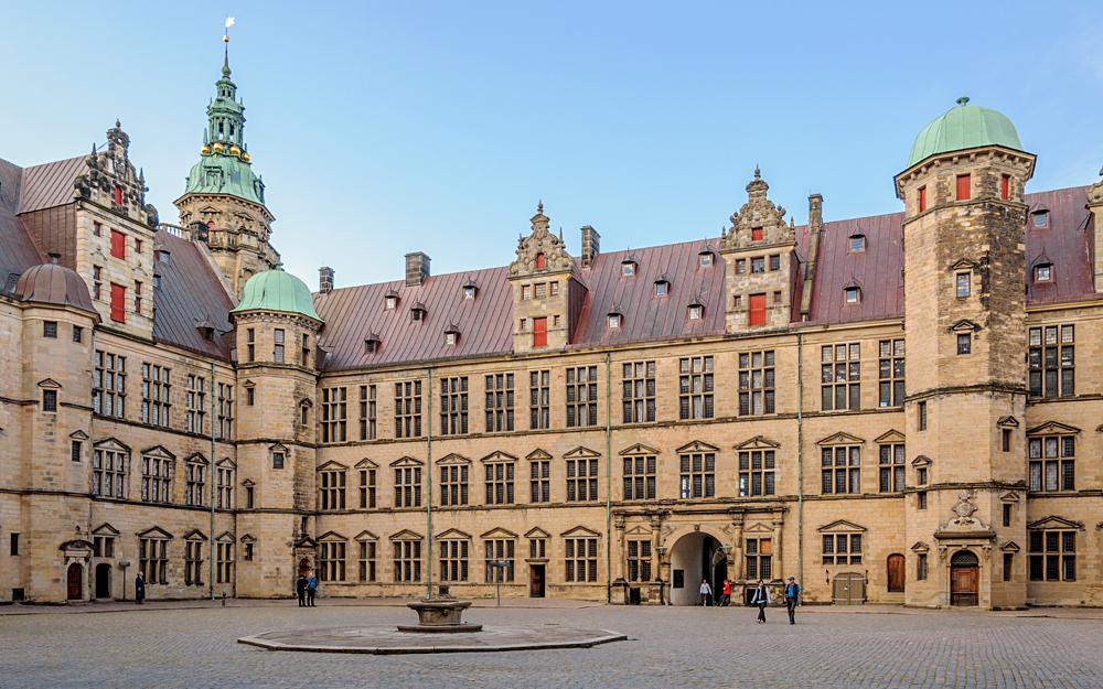 Central Area Inside the Complex Kronborg Castle in Helsingor (Elsinore), Denmark