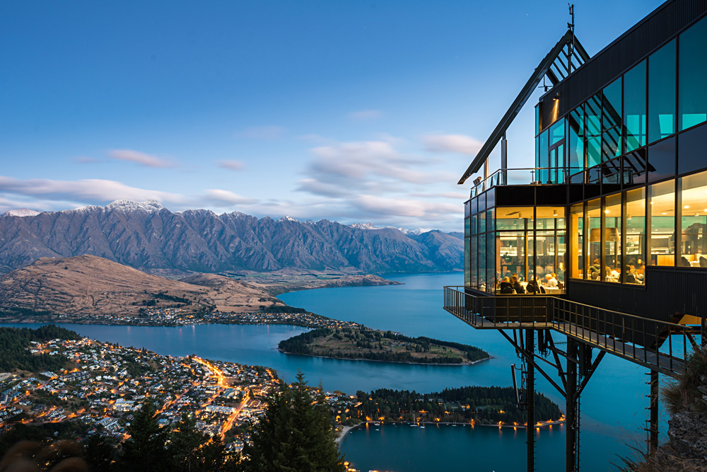 Dining at the Skyline Restaurant in Queenstown, New Zealand
