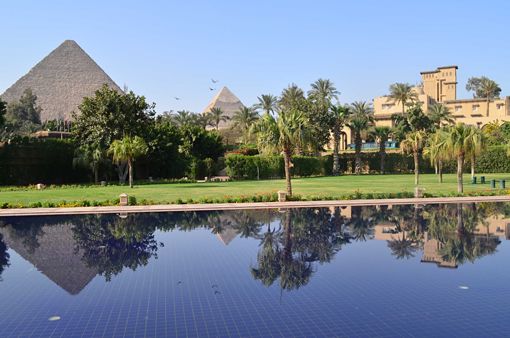 Mena House Pool and View of Pyramids, Cairo, Egypt