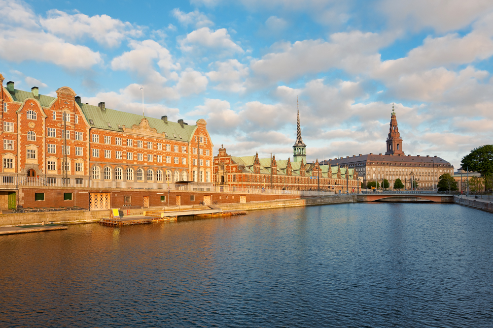 Morning View of Christiansborg Palace Over the Channel in Copenhagen, Denmark