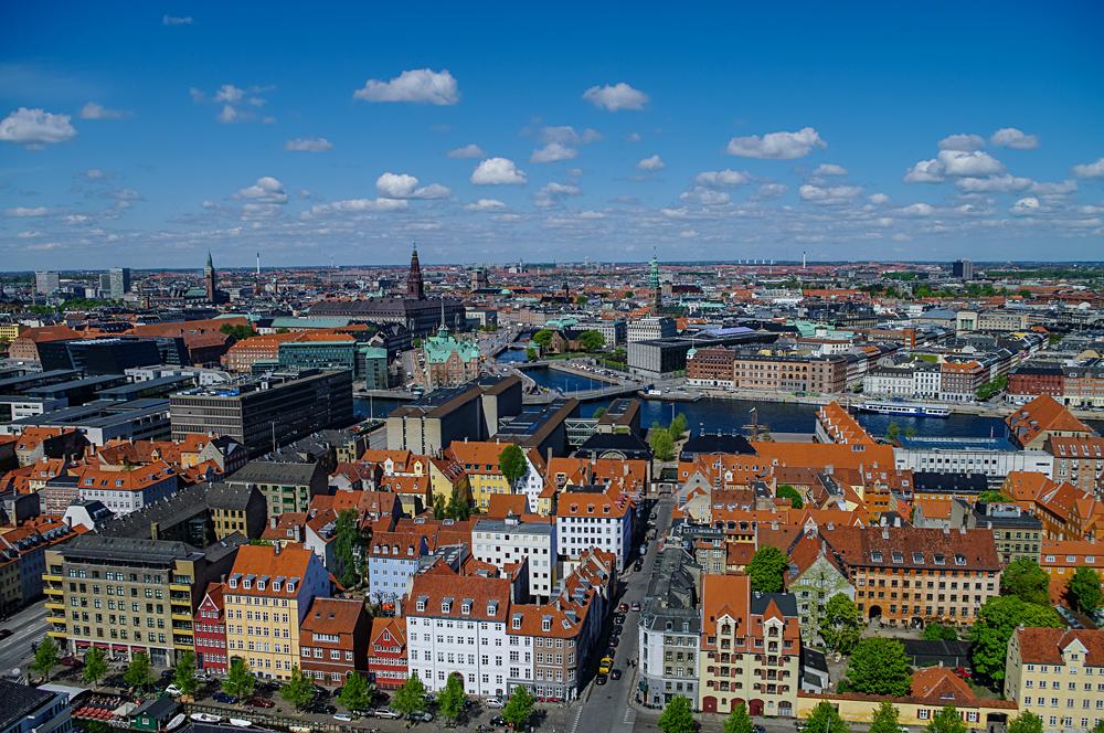 Aerial View of Copenhagen on a Sunny Spring Day, Denmark