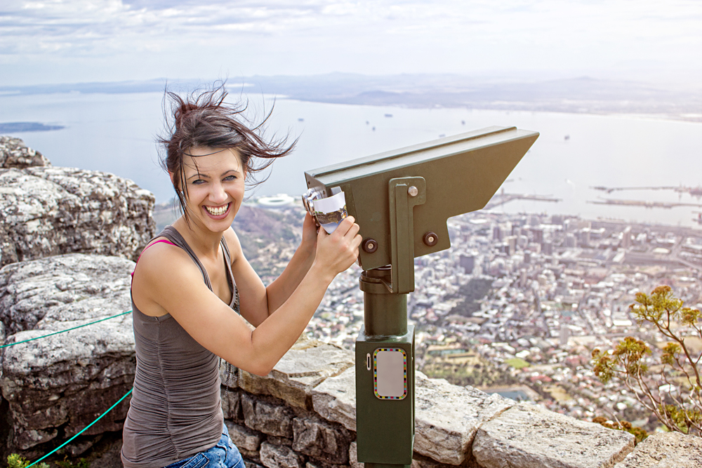 Smiling Woman on Table Mountain with Mountain Binoculars, Cape Town, South Africa