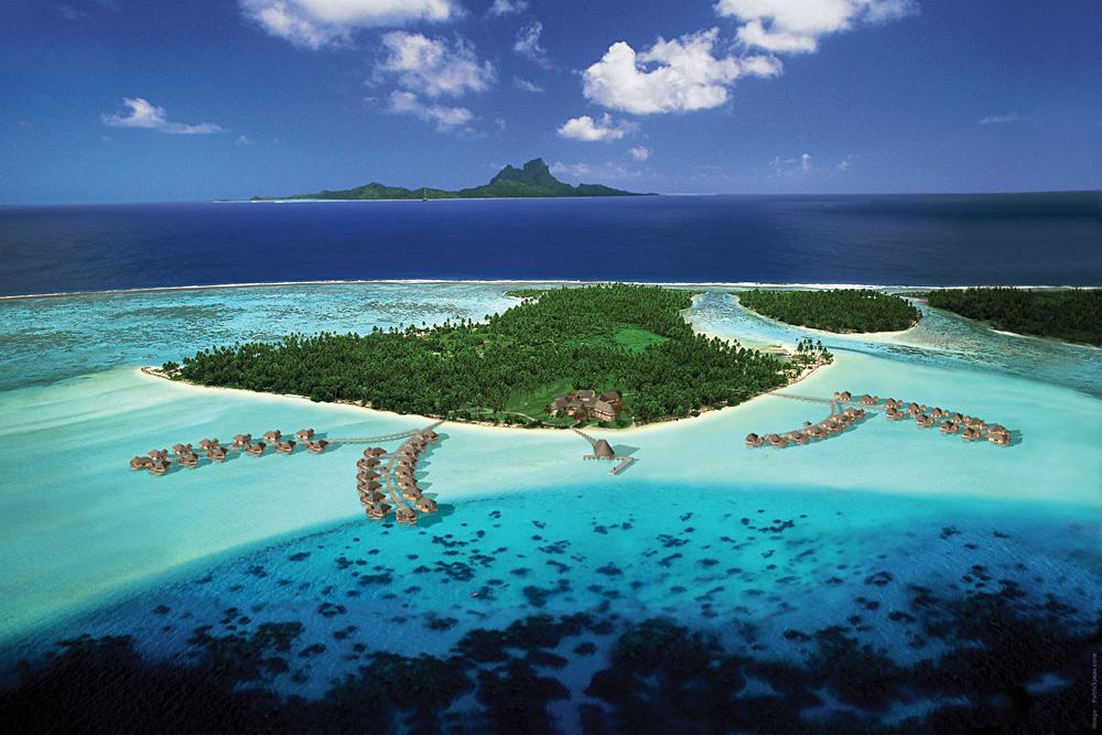 Aerial View of the Island of Tahaa, Tahiti (French Polynesia)