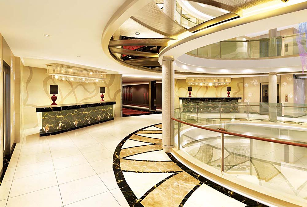 Atrium Lobby of Century Paragon Cruise Vessel on Yangtze River Cruise, China