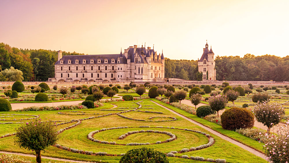 Chateau de Chenonceau and Grounds at Sunset in the Loire Valley, France