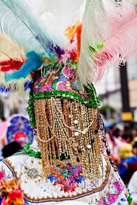 Colourful Costume with Jewelry in Quito Festivities' Parade, Ecuador