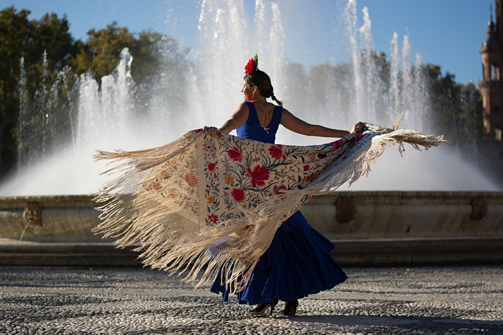 Flamenco Dancer Near Fountain, Spain