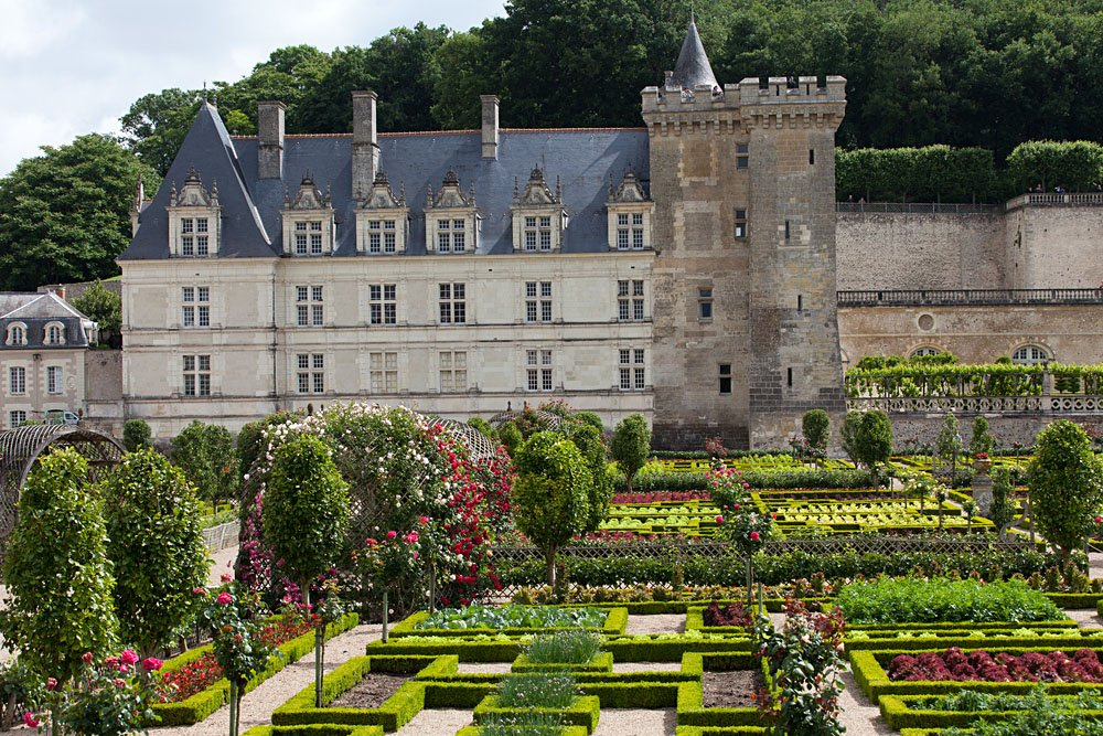 Gardens and Chateau de Villandry in Loire Valley, France