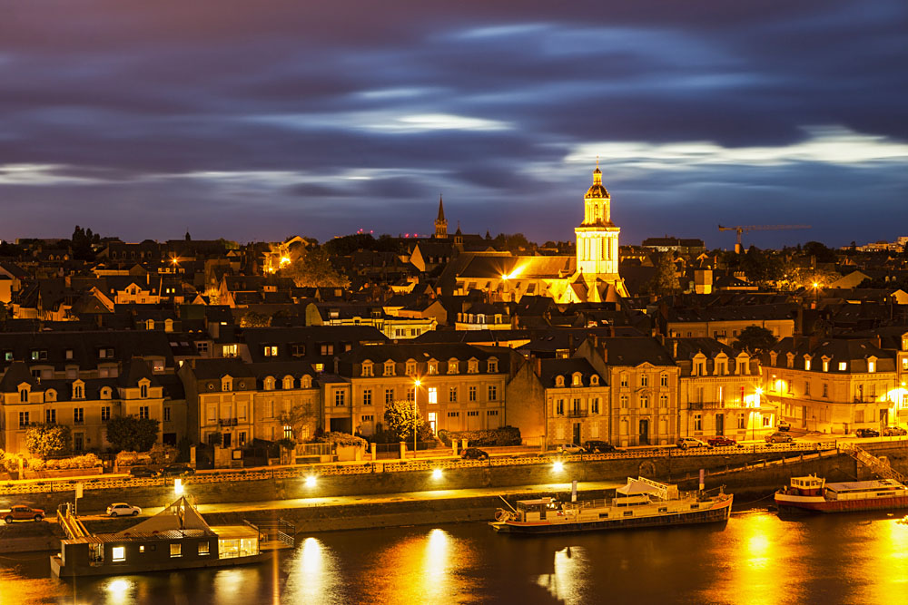 Panorama of Angers at Night, Loire Valley, France