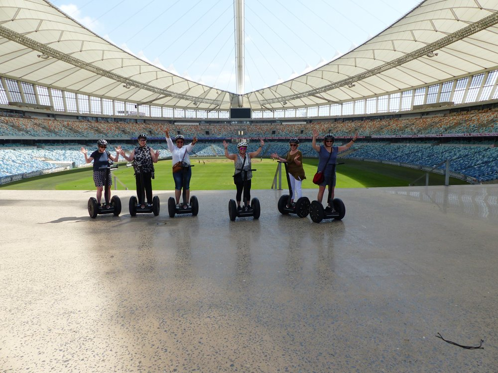 Raewyn Reid - Enjoying a Segway Ride in Moses Mabhida Stadium, Durban, South Africa