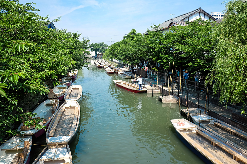 Traditional Poled Boats Parked at Deck in Yanagawa, Fukuoka, Japan