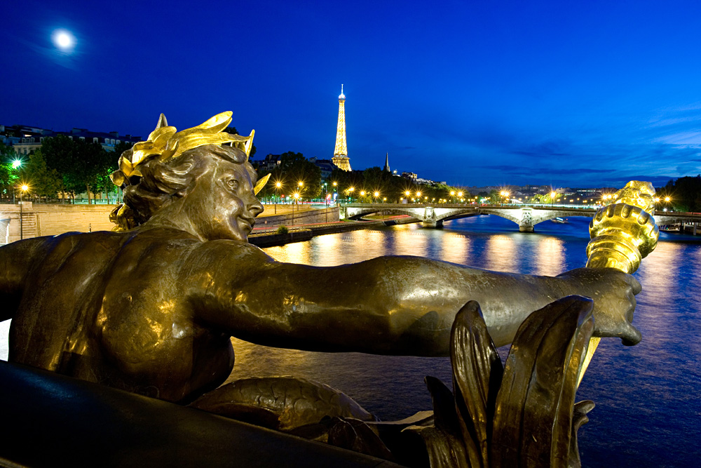 View from Alexander III Bridge in Paris, France