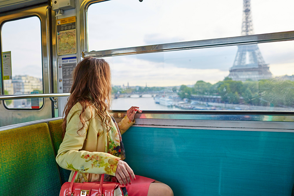 Looking at the Eiffel Tower travelling on a Paris underground train, Paris, France