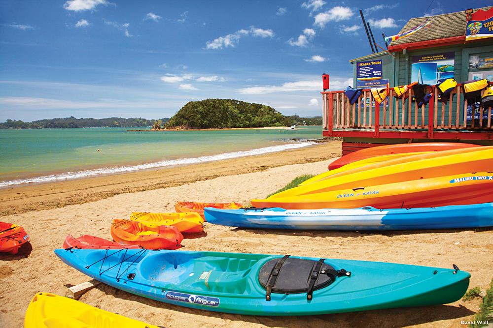 Kayaks on beach, Paihia, Bay of Islands, Northland, North Island, New Zealand