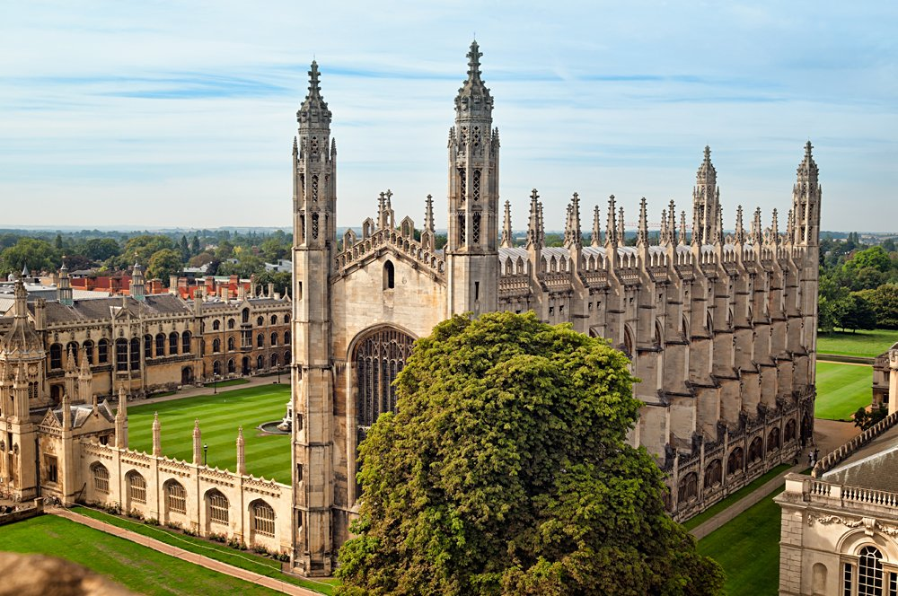 Aerial View of King`s College, Cambridge, England, UK