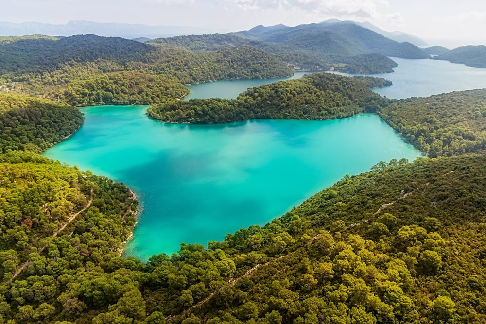 Aerial View of National Park on Island of Mljet, Croatia