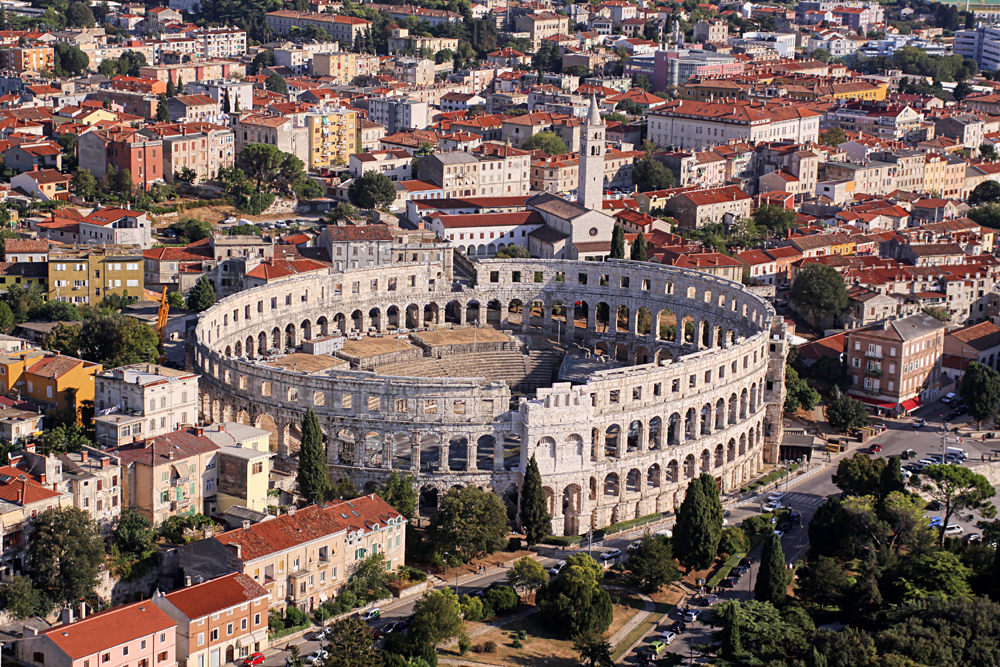Aerial View of Roman Amphitheater in Pula, Croatia