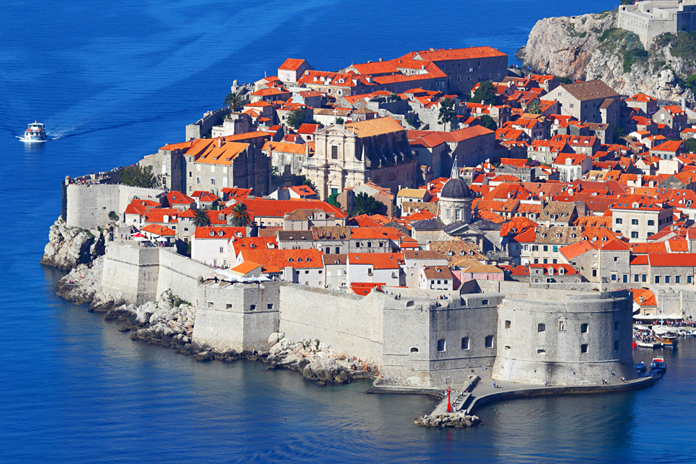 Aerial View of the Walled City of Dubrovnik, Croatia