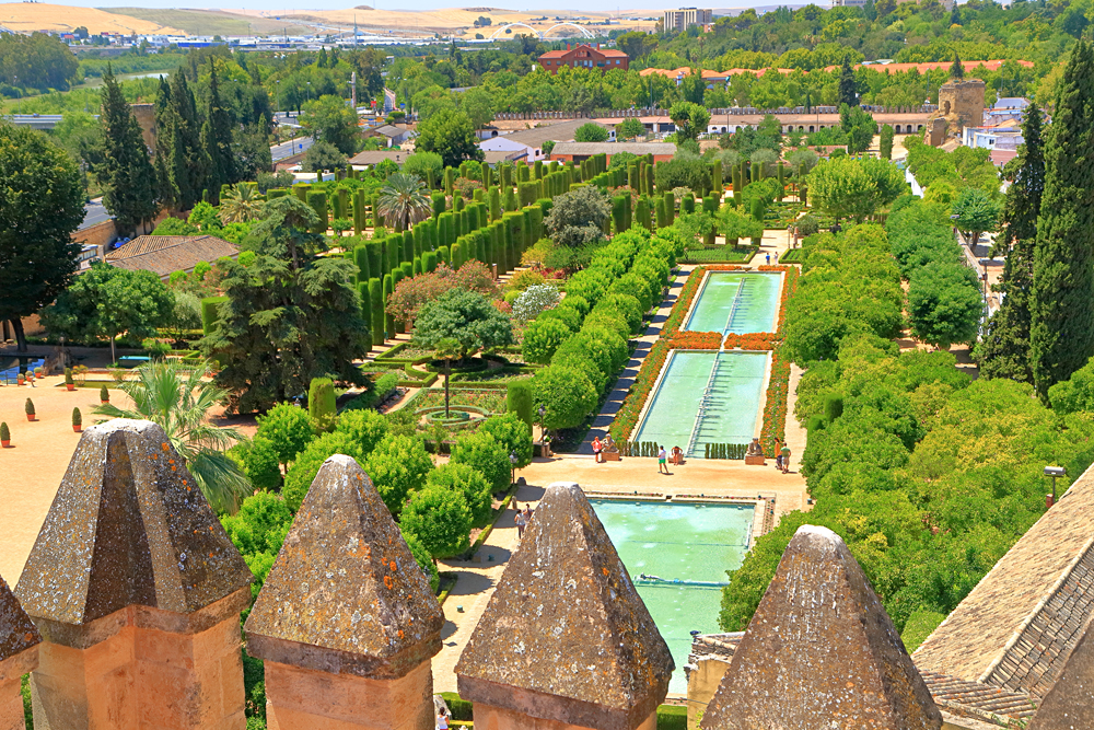Aerial view to beautiful pools in the gardens of the Alcazar of the Christian Monarchs, Cordoba, Andalusia, Spain