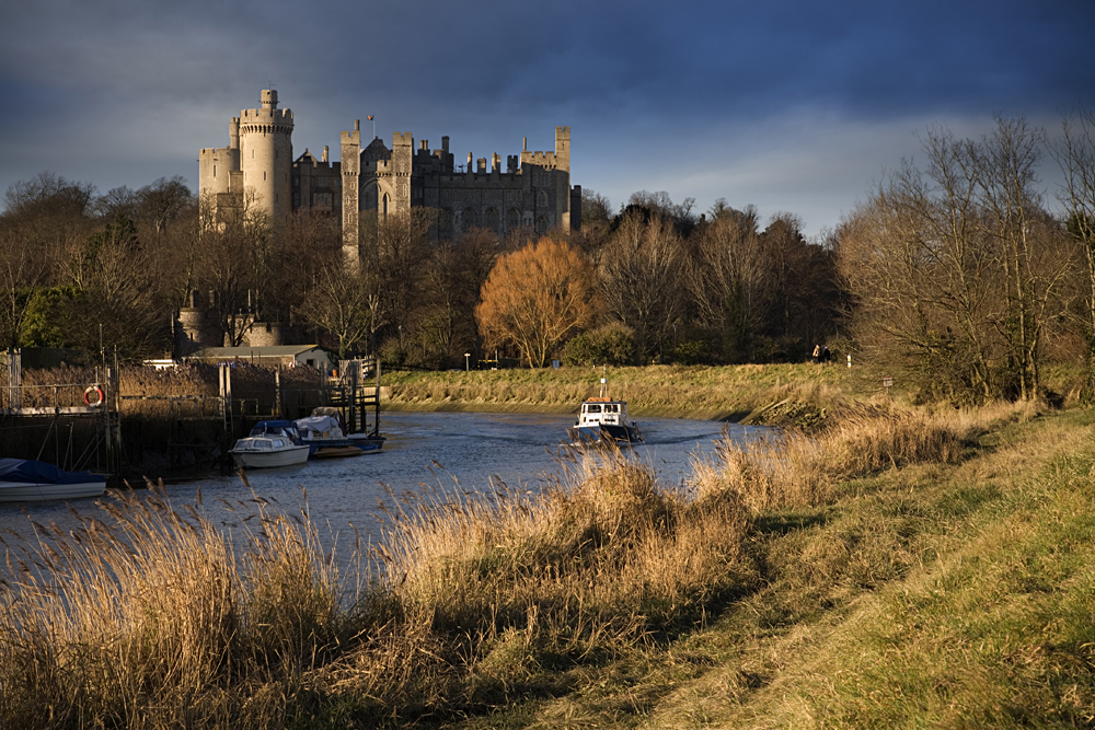 Arundel Castle and the River Arun in West Sussex, England, UK