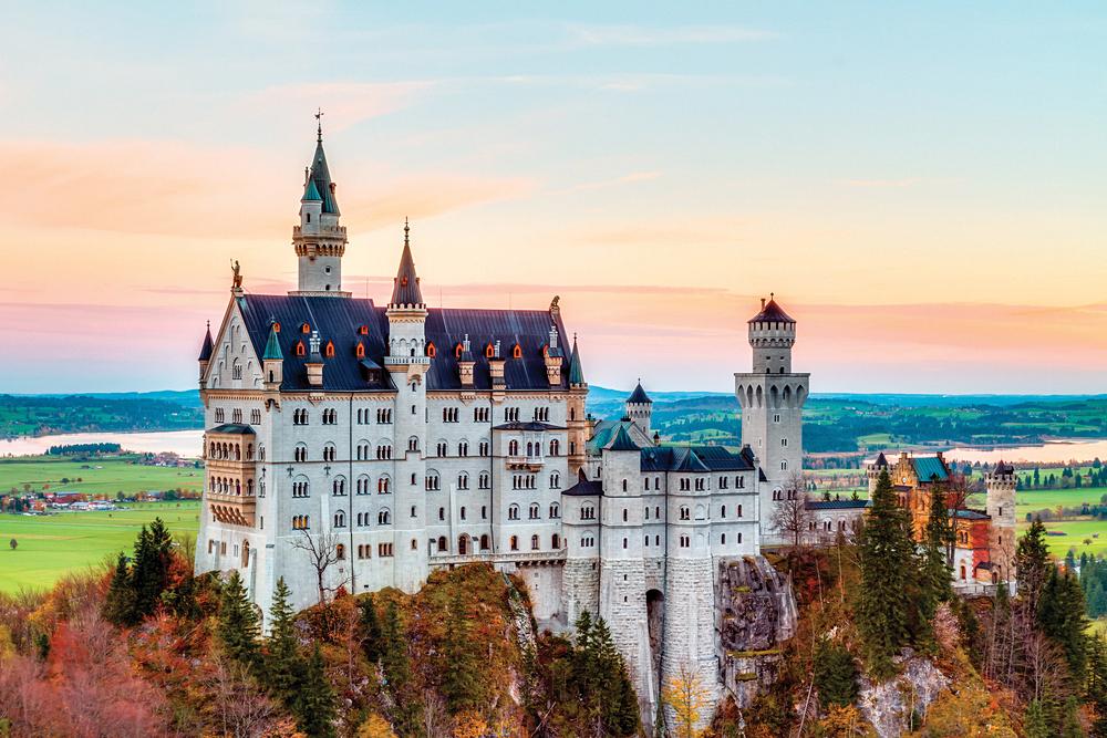 Autumn Landscape of Neuschwanstein Castle in Bavaria, Germany