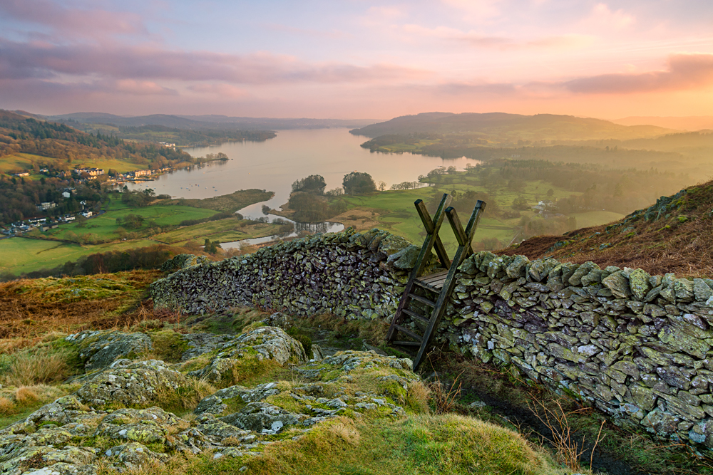 Beautiful sunset over Windermere in the Lake District, England, UK