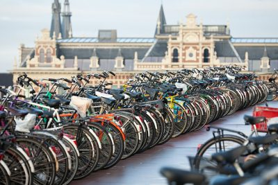 Bicycles in Amsterdam in Front of the Central Station, Netherlands