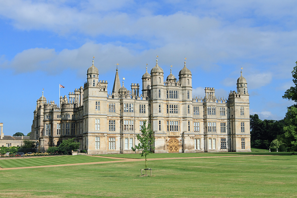 Burghley House, Landmark Medieval Castle in Stamford, Lincolnshire, England, UK