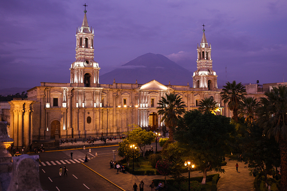 Cathedral of Arequipa in the Evening, with El Misti Volcano in Background, Arequipa, Peru