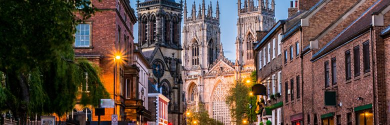 Cityscape View of York with York Minster in the background, England, UK