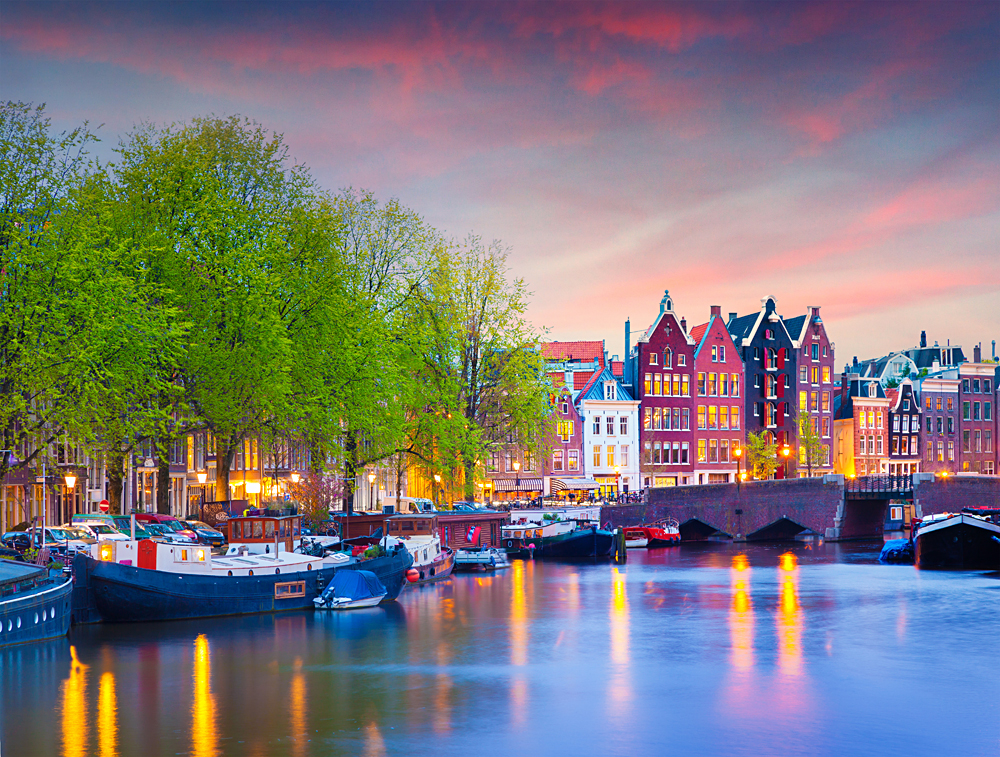 Colourful Spring Sunset on the Canals of Amsterdam, Netherlands