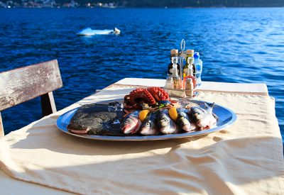 Fresh Seafood Plate in Restaurant By the Sea, Croatia