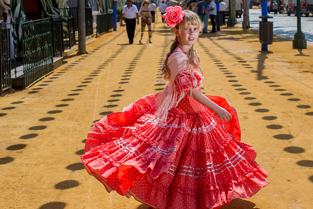Girl in Flamenco Dress at the Seville April Fair, Andalusia, Spain