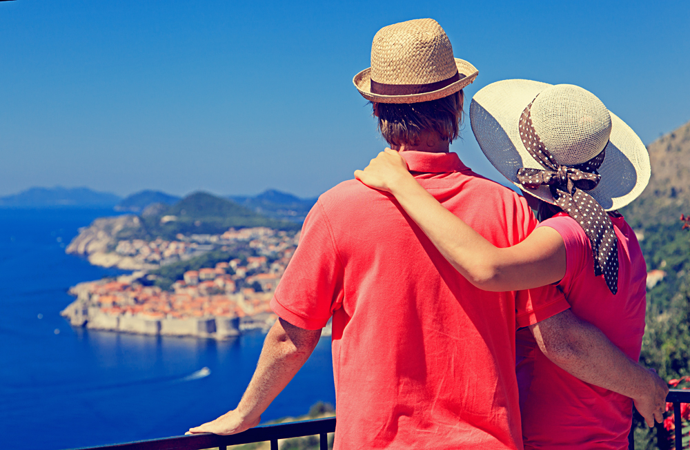 Happy Couple on Summer Vacation in Dubrovnik, Croatia