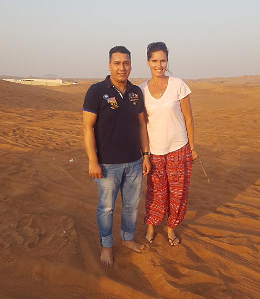 Kirsty Perring - Kirsty and Guide at Desert Safari, Dubai, United Arab Emirates (UAE)