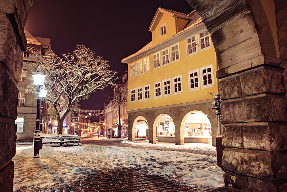 Night Scenes of Wintry Coburg in Bavaria, Germany