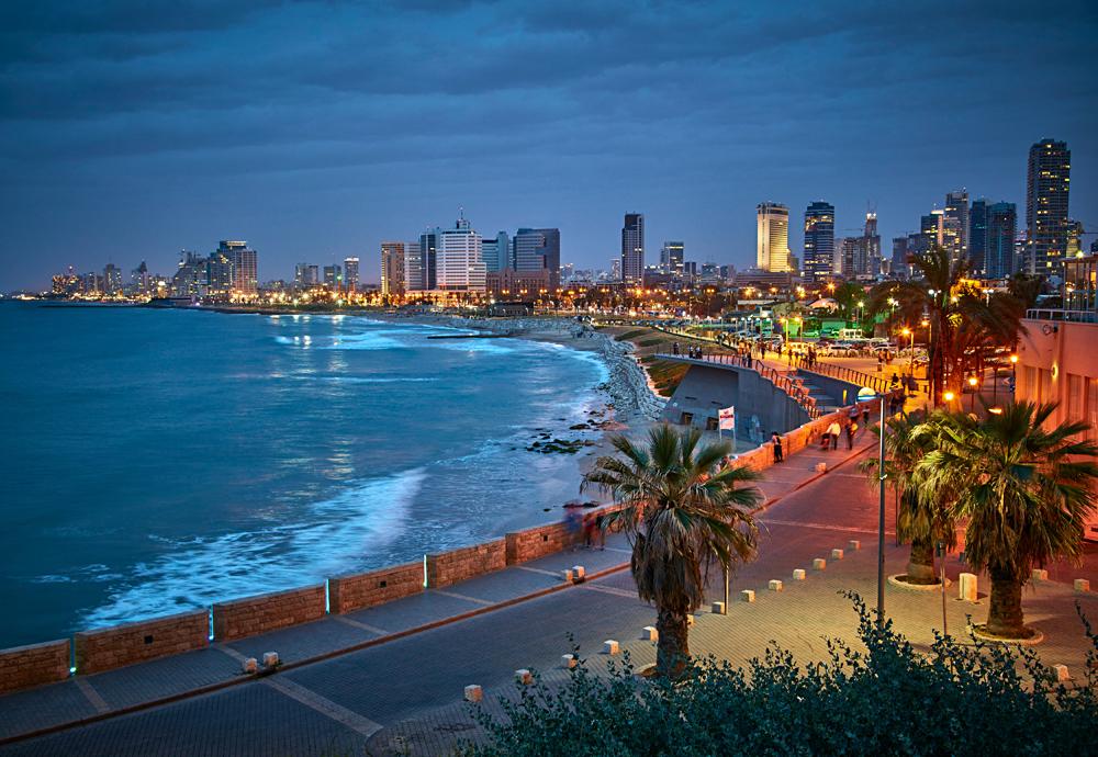 Night View from Jaffa of Tel Aviv Waterfront, Israel