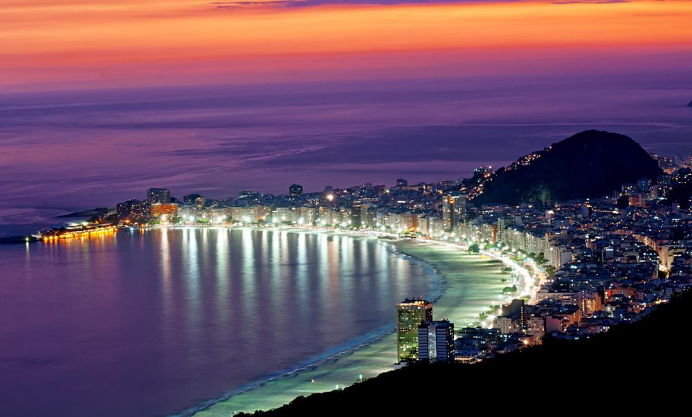 Night View of Copacabana Beach. Rio de Janeiro, Brazil
