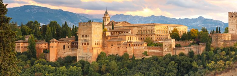 Palace and fortress complex of Alhambra during sunset in Granada, Andalusia, Spain