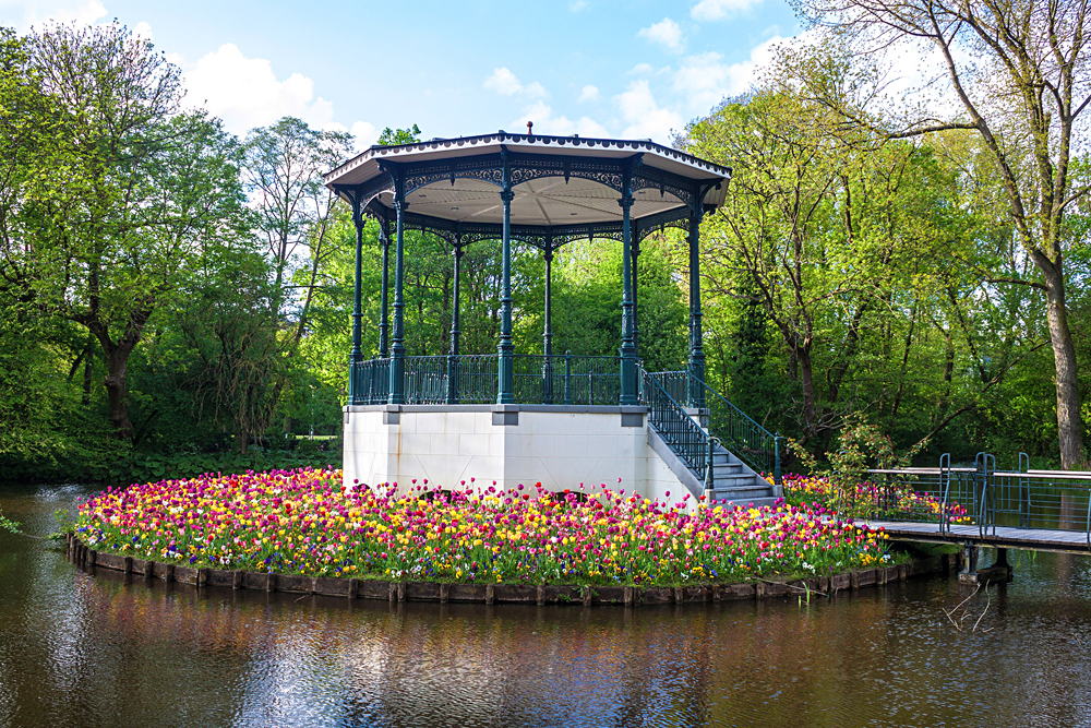 Pond and Tulips in Vondelpark, Amsterdam, Netherlands