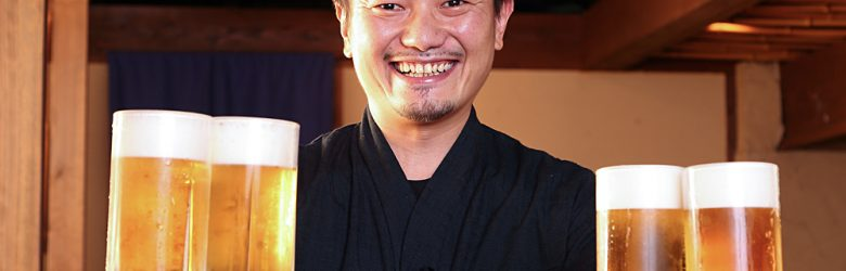Pub Manager Serving Beer, Japan