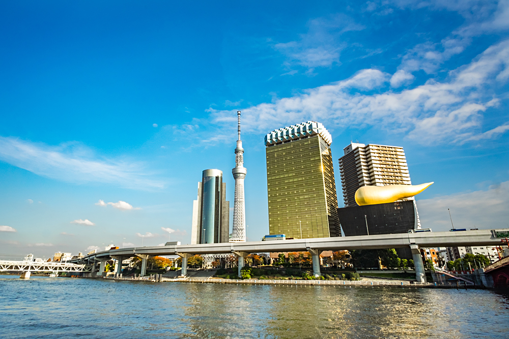 View from Sumida River of Tokyo's Sky Tree Tower and Asahi Breweries and Asahi Beer Hall, Japan