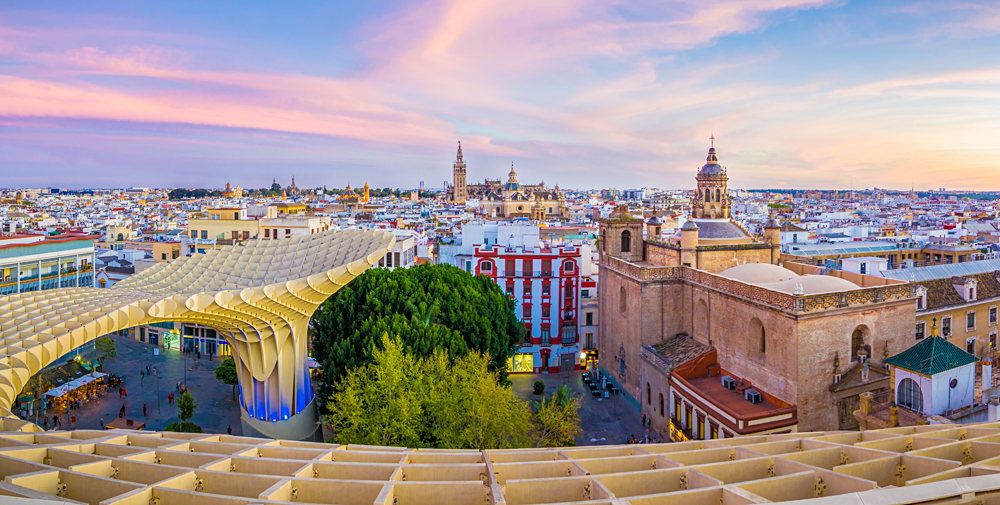 View from the top of the Metropol Parasol of the Old City and Cathedral of Seville, Andalusia, Spain