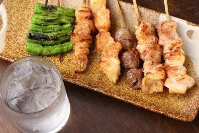 Yakitori (Japanese Chicken Skewers) and Shochu, Japan