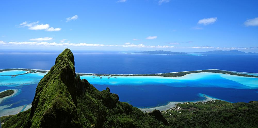 Aerial View from Mount Otemanu and Bora Bora, Tahiti (French Polynesia)