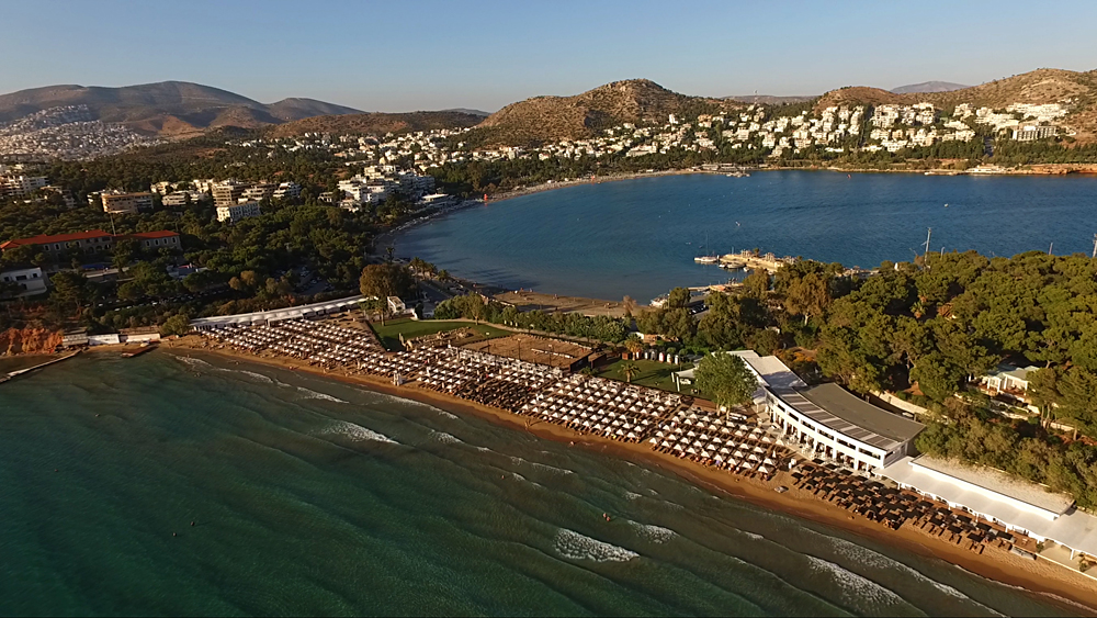 Aerial View of Astir Beach in Glyfada, Vouliagmeni, Greece