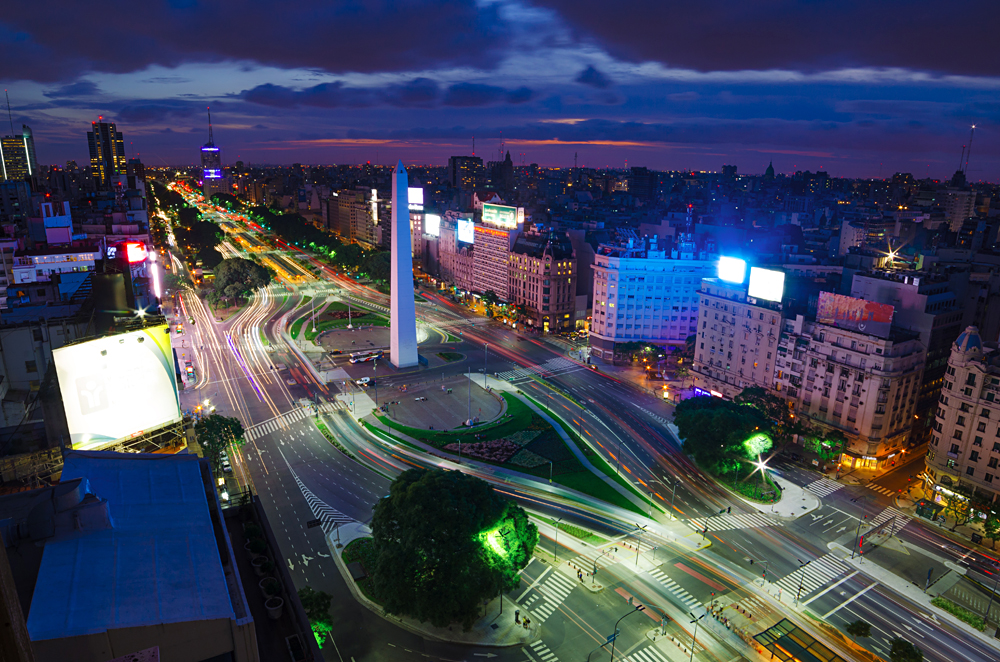 Aerial View of Buenos Aires with Obelisk at Night, Argentina