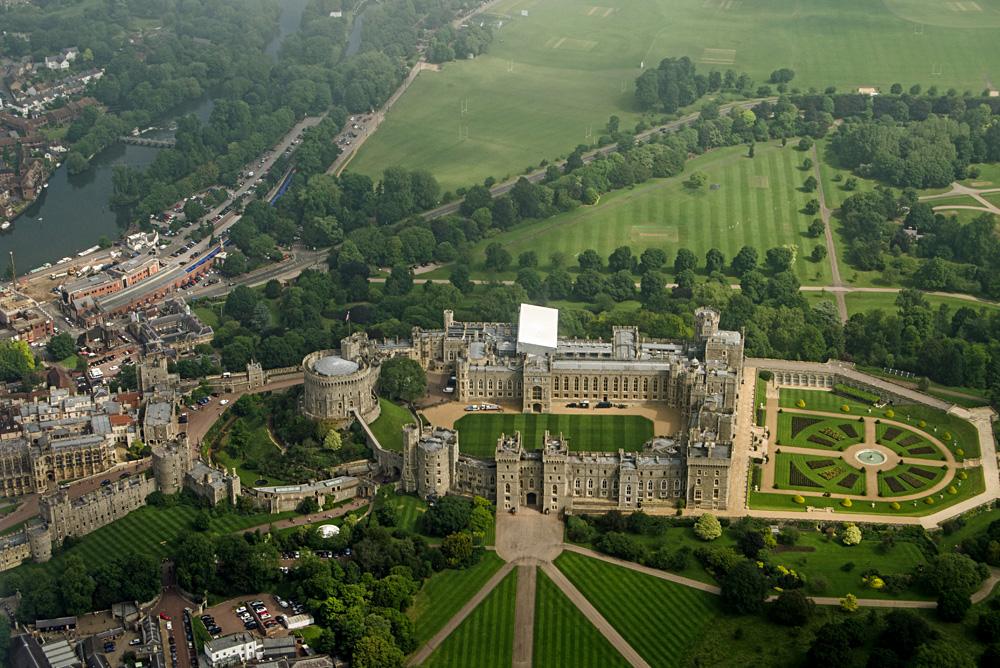 Aerial View of Windsor Castle, home of Queen Elizabeth II in Berkshire County, England, UK