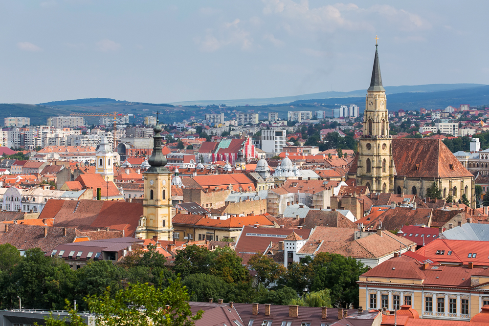 Aerial View of the Old Town in Cluj-Napoca, Transylvania, Romania
